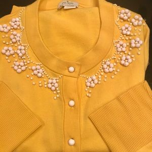 Kate Spade ♠️ Yellow Beaded Kati Cardigan Small